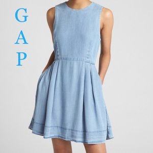 Gap Fit & Flare Tencel Chambray Dress